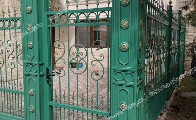Зеленые ворота с калиткой, кп Лесной простор