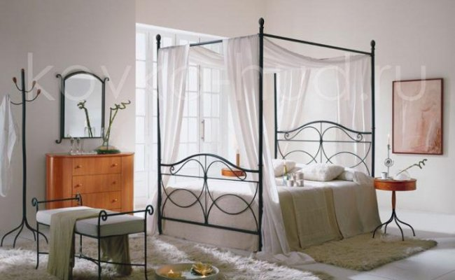 Кровать с балдахином кованая kkb-0705
