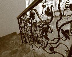 Кованые перила, лоза виноград, листья
